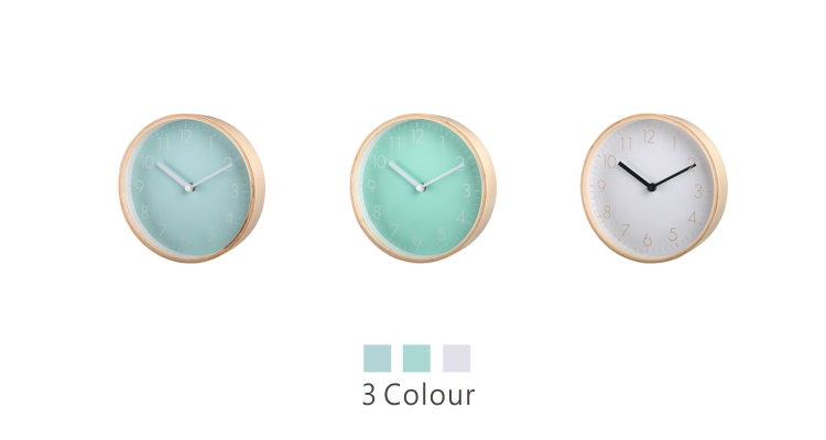 Round Wall Clock with Wooden Case