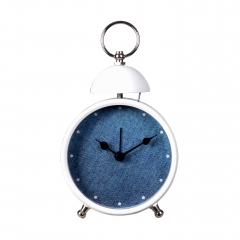 Quartz metal single bell alarm clock with painting case
